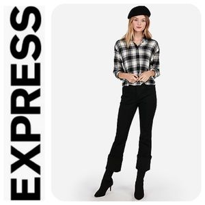 Express Boxy Beaded Cropped Flannel Shirt - NWT